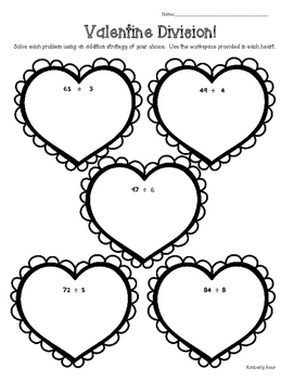 Valentine Division! Math Practice Leveled Worksheets by 4 Little Baers