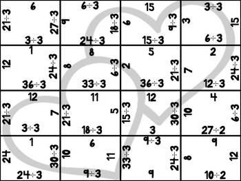 Valentine Division Puzzles