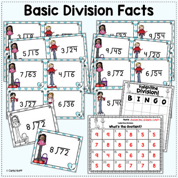 Valentine Division Task Cards - Single-Digit Divisors
