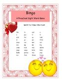 Valentine Dolch Preschool Sight Word Bingo Game