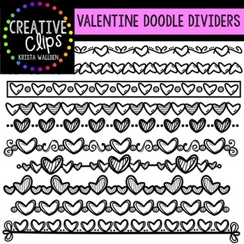 Valentine Clipart Doodle Dividers {Creative Clips Clipart}