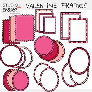 Valentine Doodle Frames Clipart (Studio Elska)