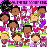 Valentine Doodle Kid Clipart {Valentine Clipart}