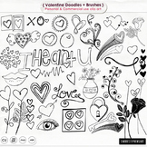 Valentine Doodles Clip Art, Rose, Sweet Lips, Hearts, Digital Stamps + PS Brush