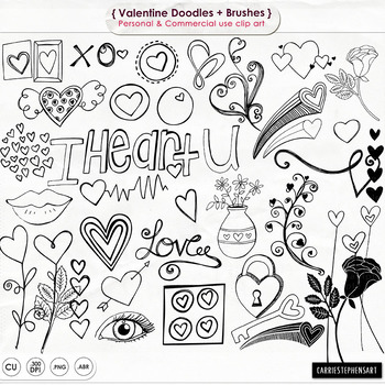 Valentine Doodles Clip Art, Rose, Sweet Lips, Hearts, Digi