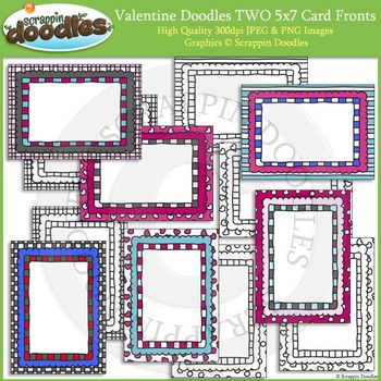 Valentine Doodles TWO 5x7 Cards