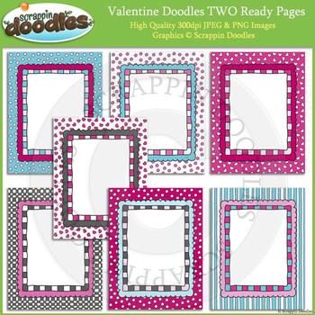 Valentine Doodles TWO 8 1/2 x 11 Ready Pages