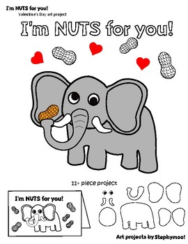 Valentine Elephant I'm NUTS for you card