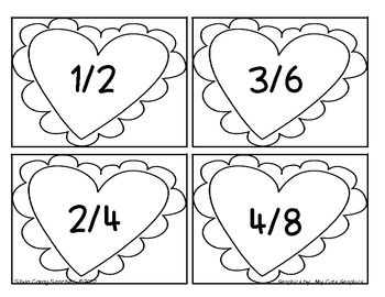 Valentine Equivalent Fraction Hearts