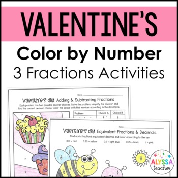 Valentine Fractions Color by Number