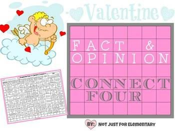 Valentine Fact and Opinion Connect Four