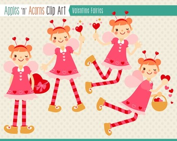 Valentine Fairies Clip Art - color and outlines