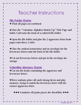 Valentine File Folder Activity AND/OR Memory Game