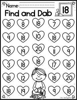 Valentine Find and Dab (Numbers 0-20)