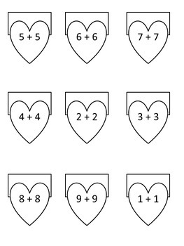 Valentine Flaps - Doubles Facts - Math - Hearts