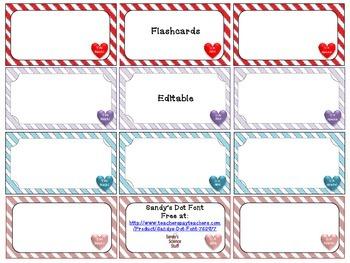 Valentine Flashcards (editable)