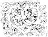 Valentine Flower Coloring Page