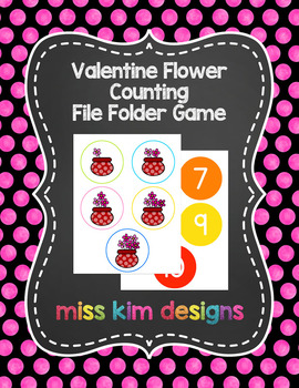 Valentine Flower Counting File Folder Game for Early Childhood Special Education