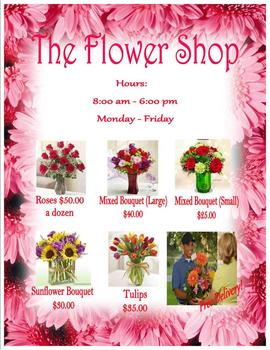 Valentine Flower Shop Sign for Dramatic Play House keeping Center Pre K