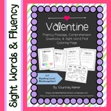 Valentine Fluency Passage, Comprehension Questions, Color by Sight Word