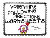 Valentine Following Directions Worksheets