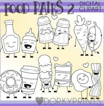 Valentine Food Pairs Clip Art