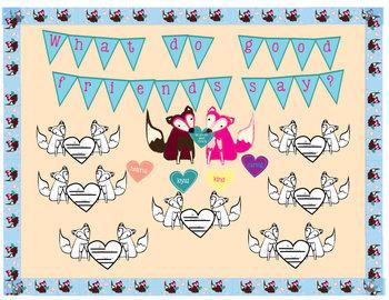 Valentine Fox Bulletin Board:  borders, friendship traits craftivity and more