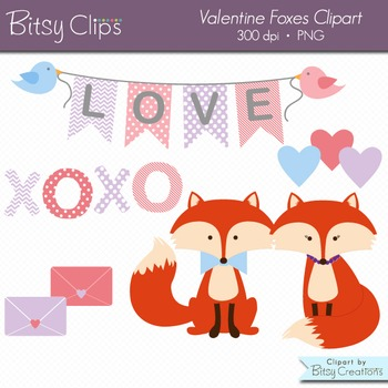 Valentine Fox Clipart Digital Art Set Commercial Use Clip Art