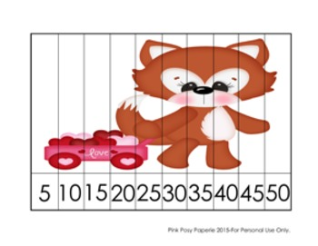 Valentine Fox Number Counting Strip Puzzles - 5 Designs - Skip by 5