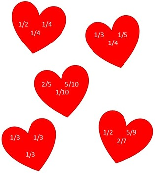 Valentine Fraction Activity Sheets for Grade 4