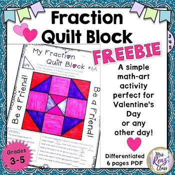 Math Fraction Quilt Block Art {FREEBIE} Grades 3-5