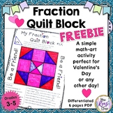 Math Fraction Quilt Block Art with a Character Traits Focus FREEBIE Grades 3-5