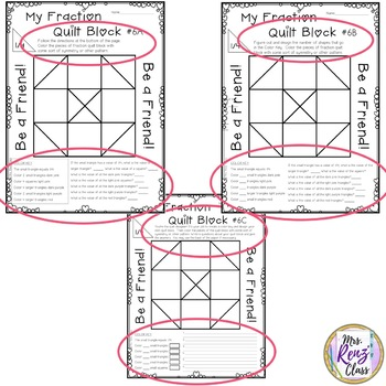 math fraction quilt block art with a character traits focus freebie grades 3 5. Black Bedroom Furniture Sets. Home Design Ideas