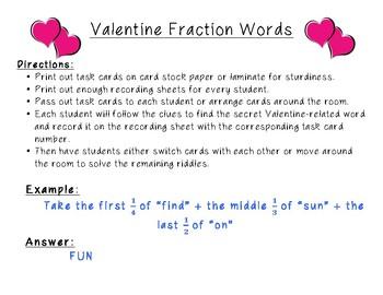 Valentine Fraction Words- Task Cards