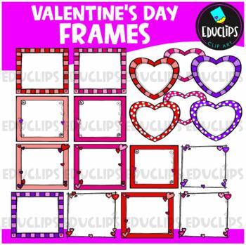 valentine frames clip art bundle educlips clipart - Valentines Picture Frames