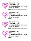 Valentine Free Homework Pass