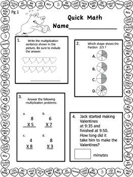 Valentine Freebie- Common Core Quick Math Sheets