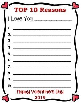 Valentine Freebie Writing Task