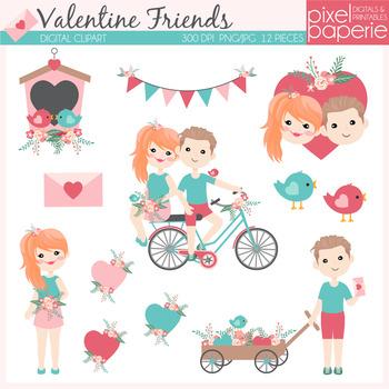 Valentine Friends Digital Clipart - kids, hearts, flowers, bird