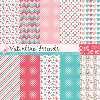 Valentine Friends Digital Papers - kids, hearts, flowers, birds