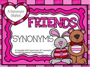 Valentine Friends Synonym Task Cards