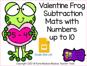 Valentine Frog Subtraction Mats with Numbers up to 10