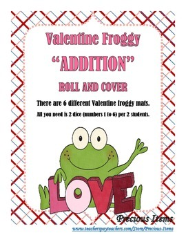 """Valentine Froggy """"Addition"""" Roll and Cover - 2 Dice"""