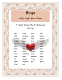Valentine Fry Words 201-250 Bingo Game