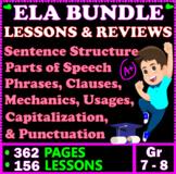 7th & 8th Grade ELA Worksheets. 151 Grammar Lessons & Reviews. 316 PAGES. BUNDLE