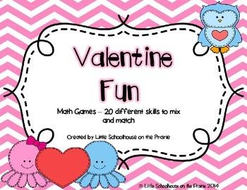 Valentine Fun - Math Games - Mix and Match 20 skills