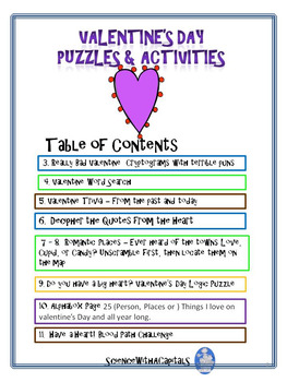 Valentine Puzzles and Activities for Upper Grades with Science & Social Studies