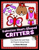 Valentine Animals Shape Art with Hearts - Four Cut-And-Pas