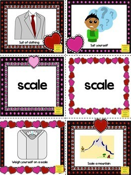 Multiple Meaning Words - Homonyms Task Cards Valentine themed