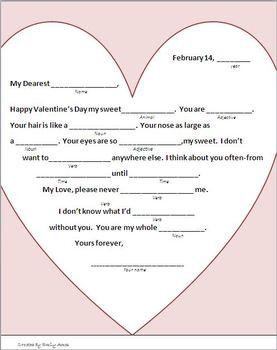 Valentine Fun:Homonyms Mystery Verbs & Nouns GRAMMAR Libs Valentine's Day